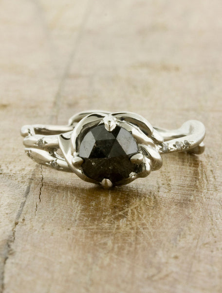 Black Diamond Nature Inspired Engagement Ring