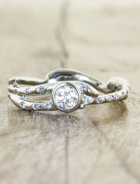 Nature inspired engagement ring;caption:Pictured in 14k White Gold