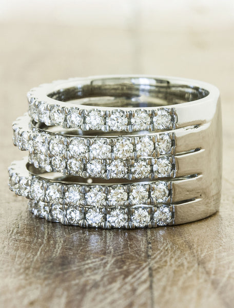 multiple diamond band wedding ring