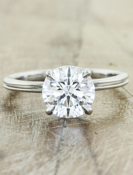 elegant double band engagement ring, round diamond