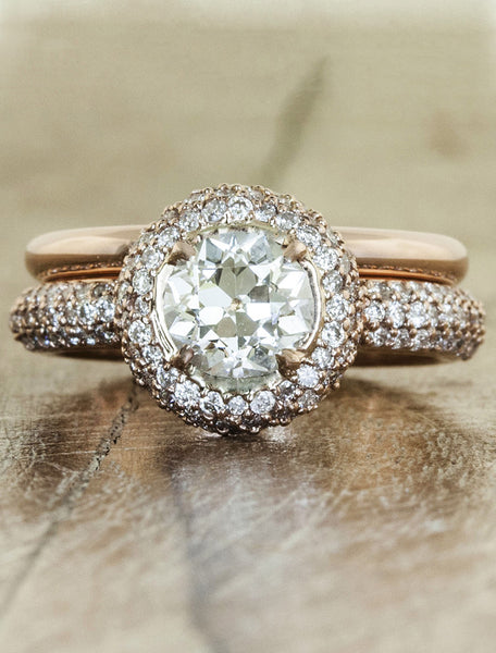unique halo round european cut diamond, matching wedding band