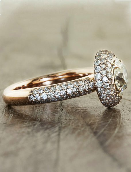 unique vintage inspired diamond encrusted engagement ring