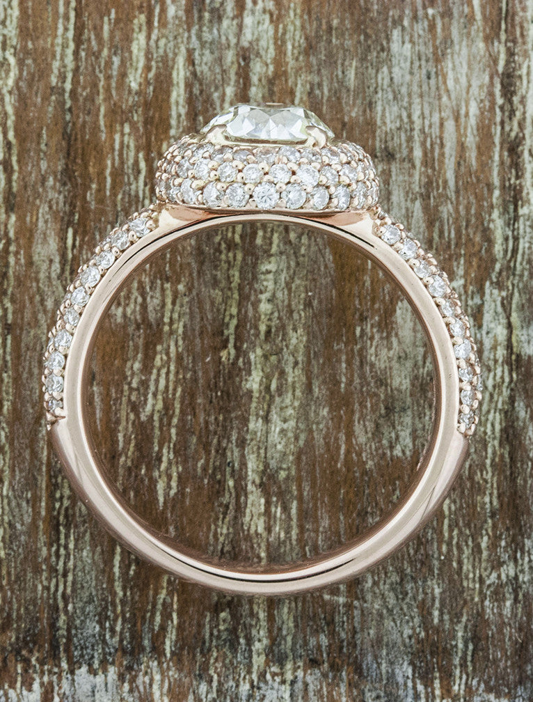 unique halo round european cut diamond, diamond band