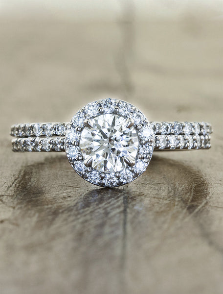 diamond halo engagement ring by Ken & Dana Design. caption:Shown with the Edith matching wedding band