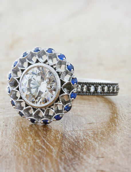 Sapphire Halo Vintage Inspired Engagement Ring with Filigree & Milgrain