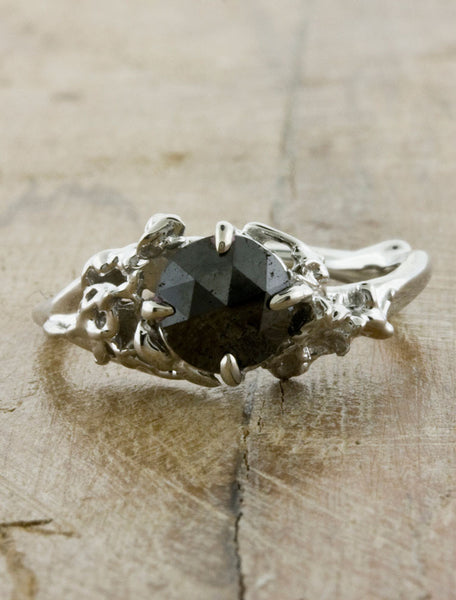 black diamond engagement ring, organic & nature inspired;caption:1.00ct. Round Rose Cut Black Diamond 14k White Gold