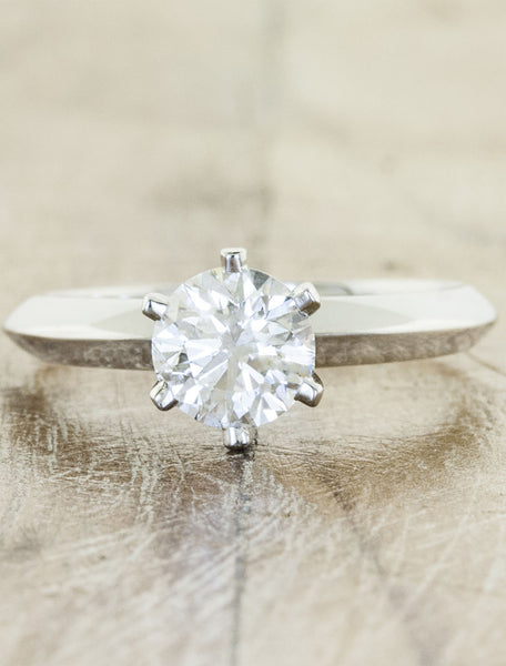 modernist diamond engagement ring, knife edge band