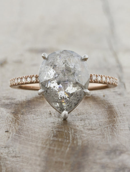 Pear Rough Diamond Engagement Ring, Mixed Metal