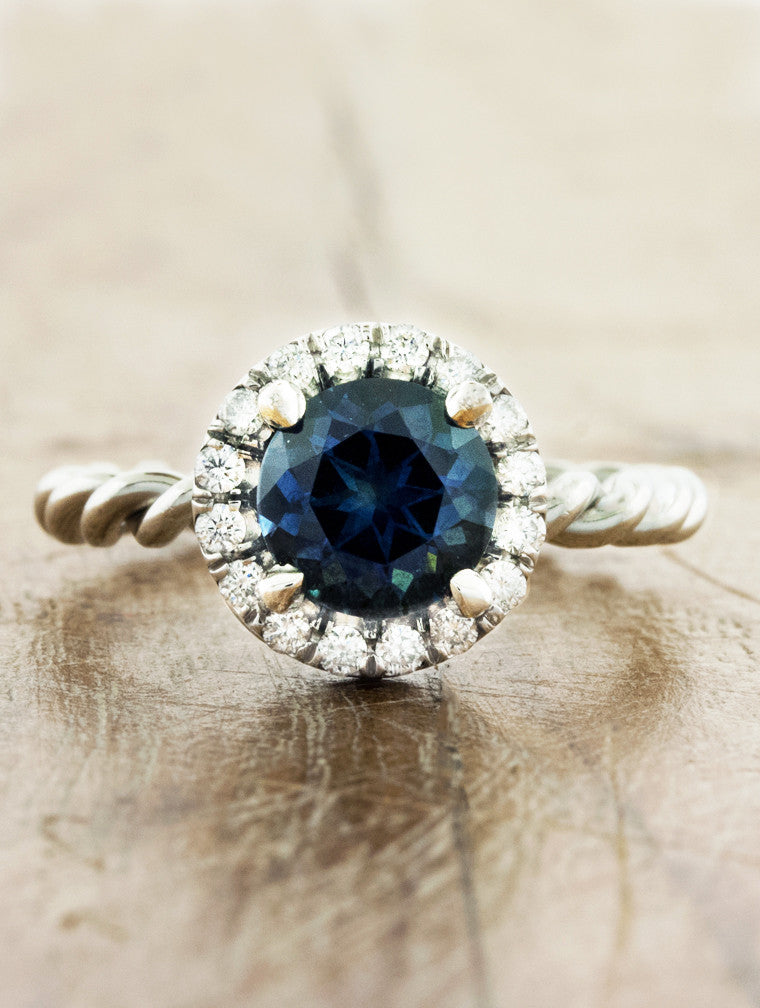 montana sapphire in halo setting, engagement ring