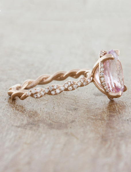 Oval Morganite Rope Diamond Band Engagement Ring