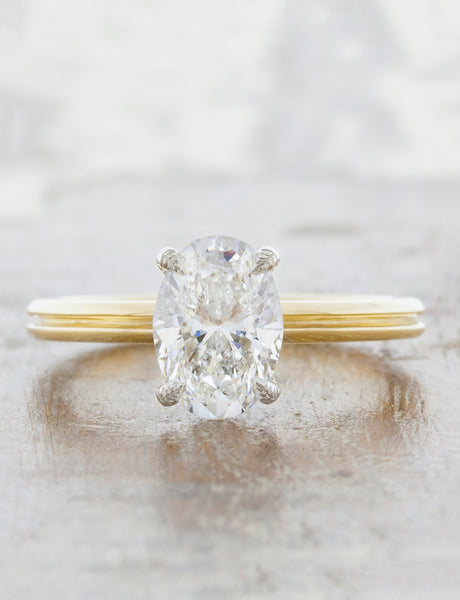 Unique engagement ring double band;caption:1.00ct. Oval Diamond 14k Yellow Gold and Platinum