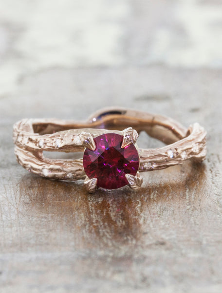 Unique engagement ring - Mable Diamonds caption:1.00ct. Round Ruby 14k Rose Gold