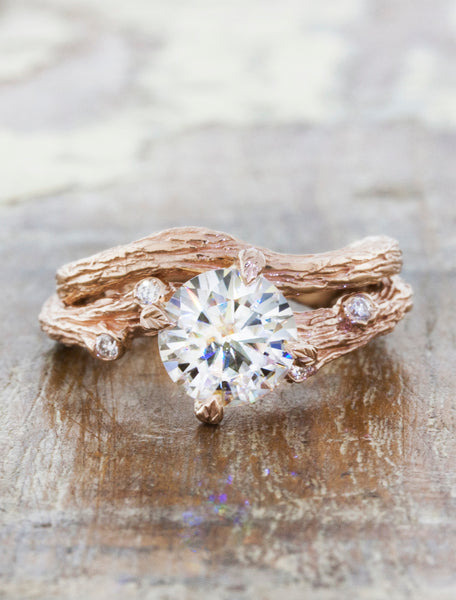tree bark texture solitaire engagement ring with matching band