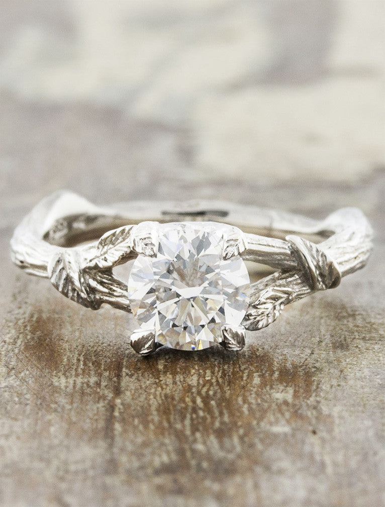 Nature inspired engagement ring - Adelia caption:1.00ct. Round Diamond 14k White Gold