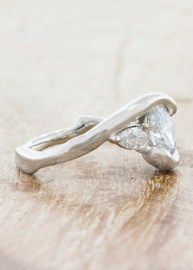 Split Band Three Stone Engagement Ring