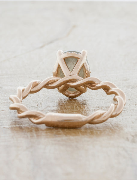 Oval Rough Diamond, Twisted Band Ring