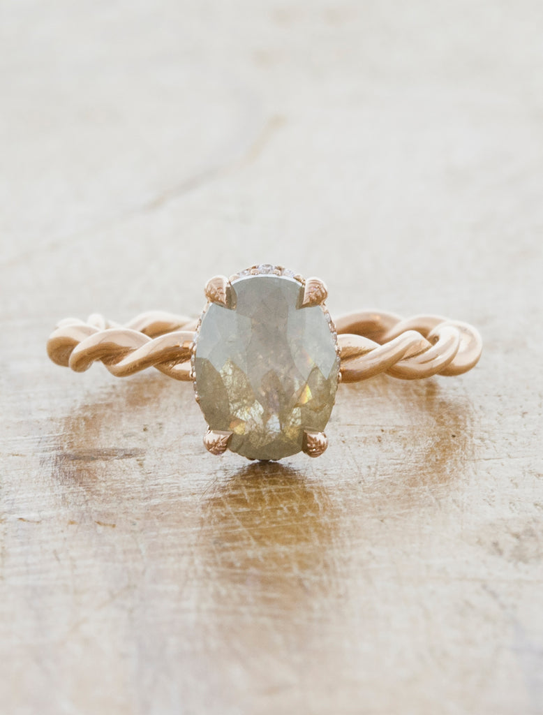 Oval Rough Diamond, Twisted Band Ring caption: 1.20cr Rough Diamond on a 14k Rose Gold Band