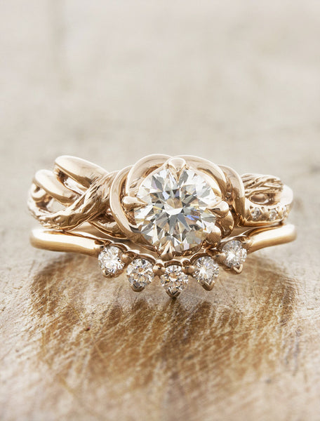 Nature inspired engagement ring - Landress caption:0.90ct. Round Diamond 14k Rose Gold paired with Antoinette