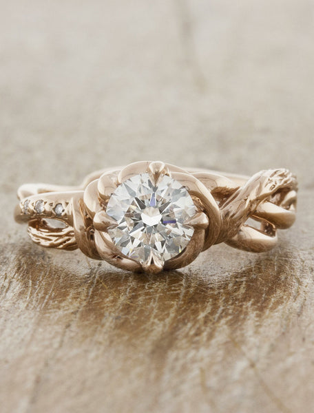 Nature inspired engagement ring - Landress caption:1.00ct. Round Diamond 14k Rose Gold