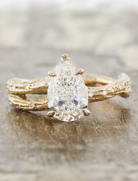 Unique engagement ring - Mable Diamonds caption: 1.50ct. Pear Diamond 14k Rose Gold