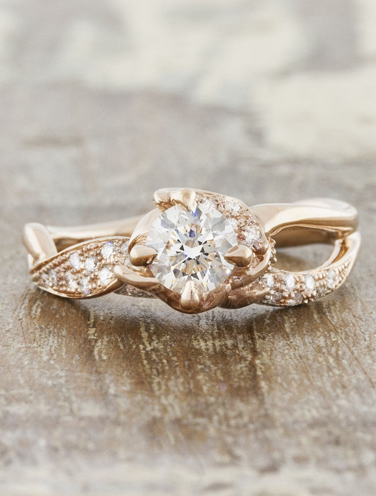 unique rose gold nature inspired split shank engagement ring;caption:0.50ct. Round Diamond 14k Rose Gold