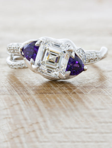 Unique nature inspired engagement ring split shank;caption:1.50ct. Asscher Cut Diamond and Amethyst 14k White Gold