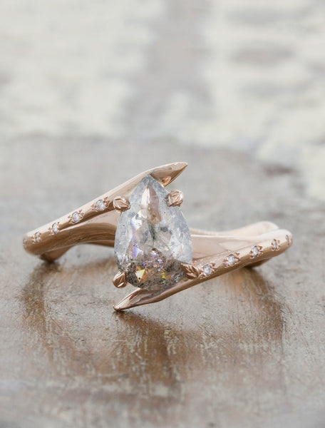 unique asymmetrical engagement ring;caption:1.00ct. Pear Rustic Diamond 14k Rose Gold