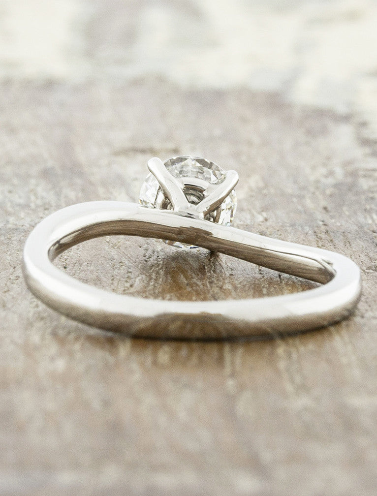 conflict free diamond solitaire engagement ring, asymmetrical band