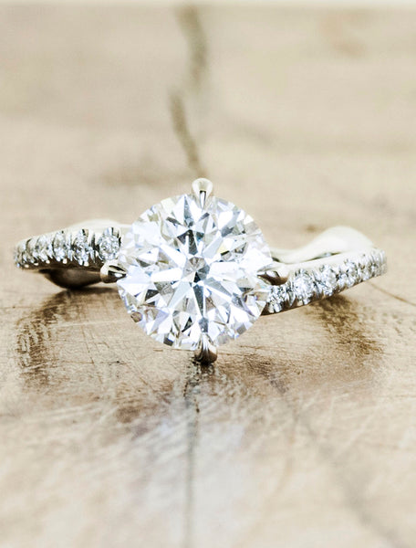 Nature inspired solitaire pave engagement ring;caption:2.00ct. Round Diamond Platinum
