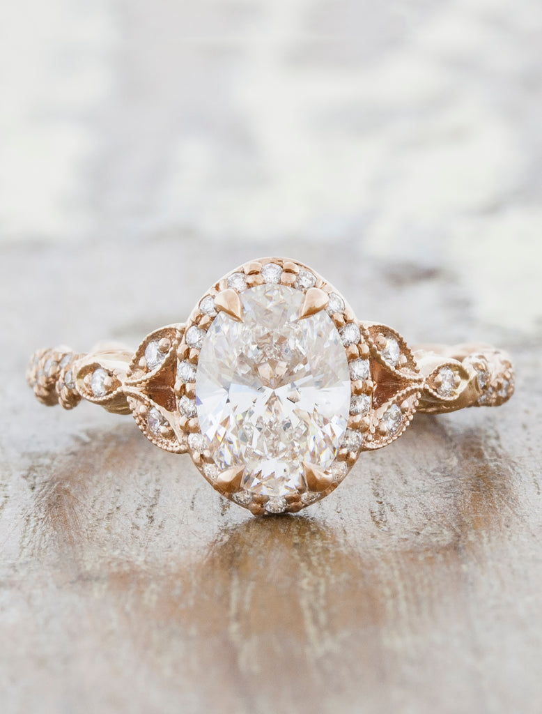 Vintage and Nature Inspired Diamond Rope Band Engagement Ring  caption: 1.32ct Oval Diamond 14k Rose Gold