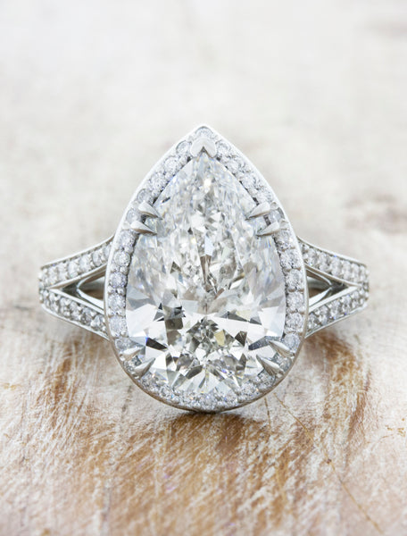 Pear Cut Diamond Halo, Split Band Engagement Ring