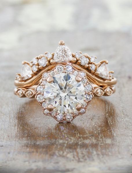 Vintage inspired engagement ring;caption:1.50ct. Round Diamond 14k Rose Gold paired with Tempest wedding band