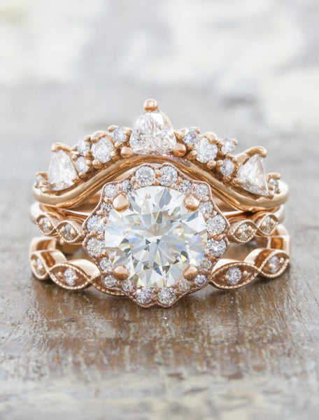Unique vintage inspired engagement ring;caption:1.50ct. Round Diamond 14k Rose Gold paired with Tempest and Lusia wedding bands