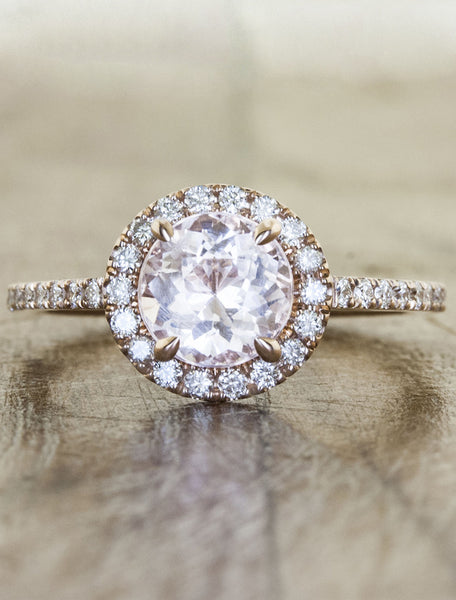 Round diamond halo engagement ring. caption:Customized with a Morganite, set in 14k rose gold