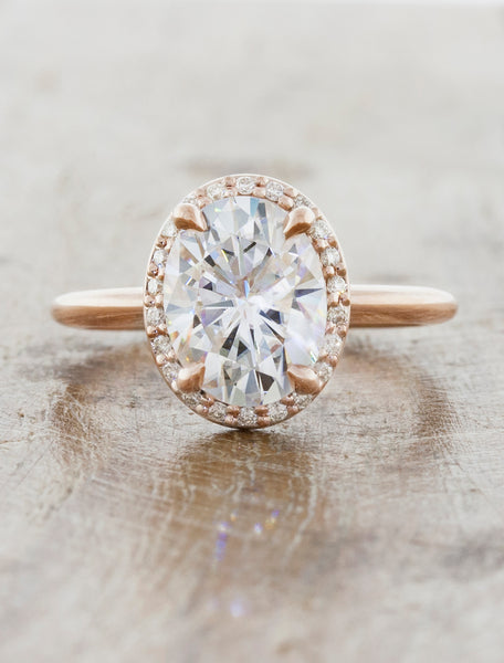 2.00ct Oval Halo Rose Gold in 14k Rose Gold caption: 2.00ct Oval Diamond in 14k Rose Gold