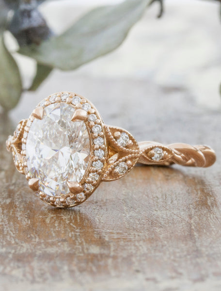 caption:1.50ct 14k Rose Gold, customized Rachael with rope band