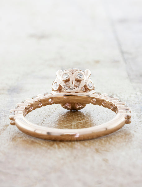 Rose Gold Round Diamond Ring, Vintage-Inspired with View from Rear of Ring