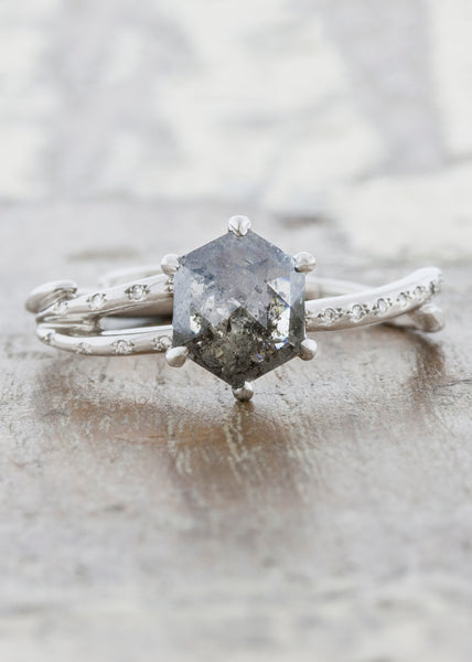 Nature inspired engagement ring;caption:1.25ct. Rustic Hexagon Diamond 14k White Gold