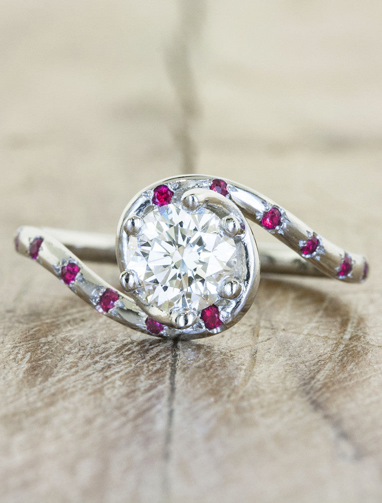 asymmetric band diamond ring with ruby accents