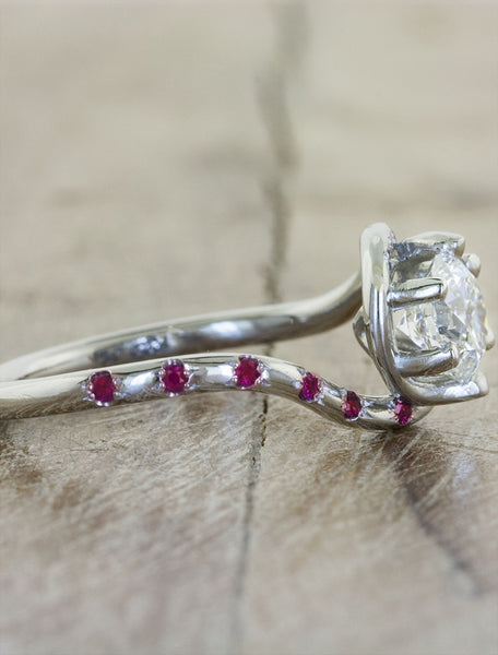ruby accented engagement ring band