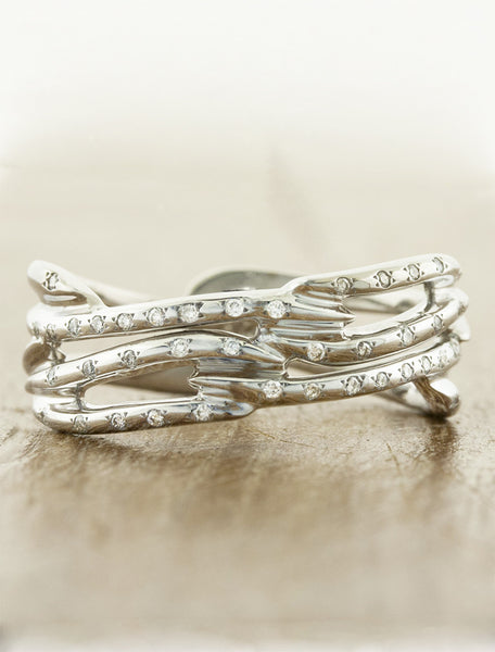 multi strand, split shank diamond accented wedding band