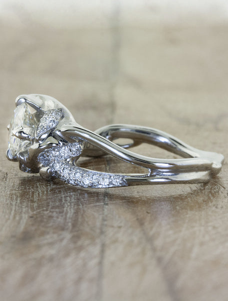 unique nature-inspired sculptural split shank pave band diamond engagement ring