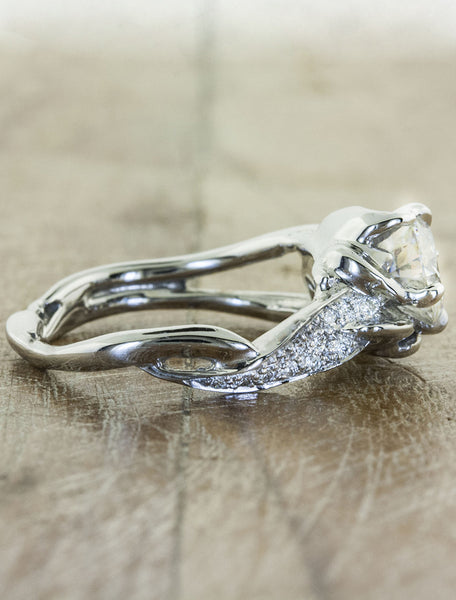 sculptural split shank pave band diamond engagement ring
