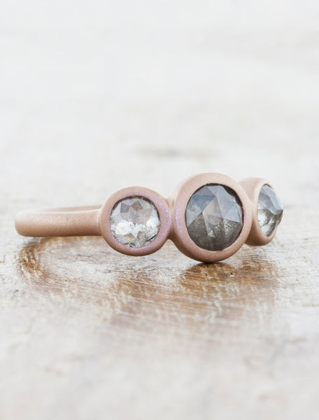 Rose Cut Rough Grey Diamonds Ring