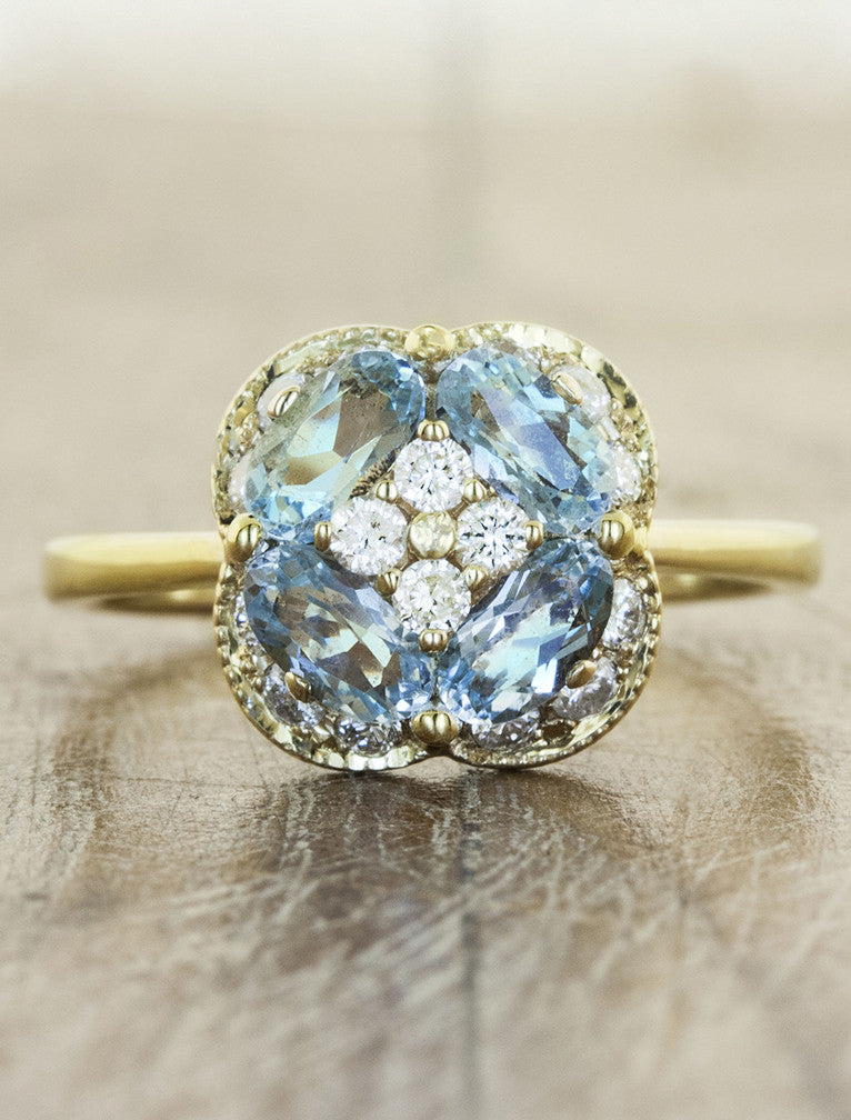 Chloe aquamarine caption: Aquamarine and Diamond 14k Yellow Gold