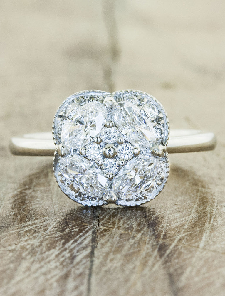 Vintage inspired multi stone engagement ring;caption:Pictured in Platinum