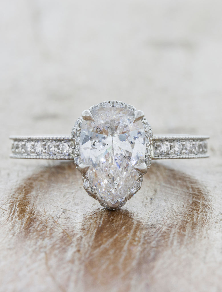 Pear Cut Diamond Halo Engagement Ring
