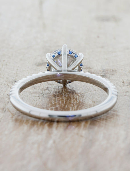Round Diamond Engagement Ring, Pave Band and blue sapphire accents