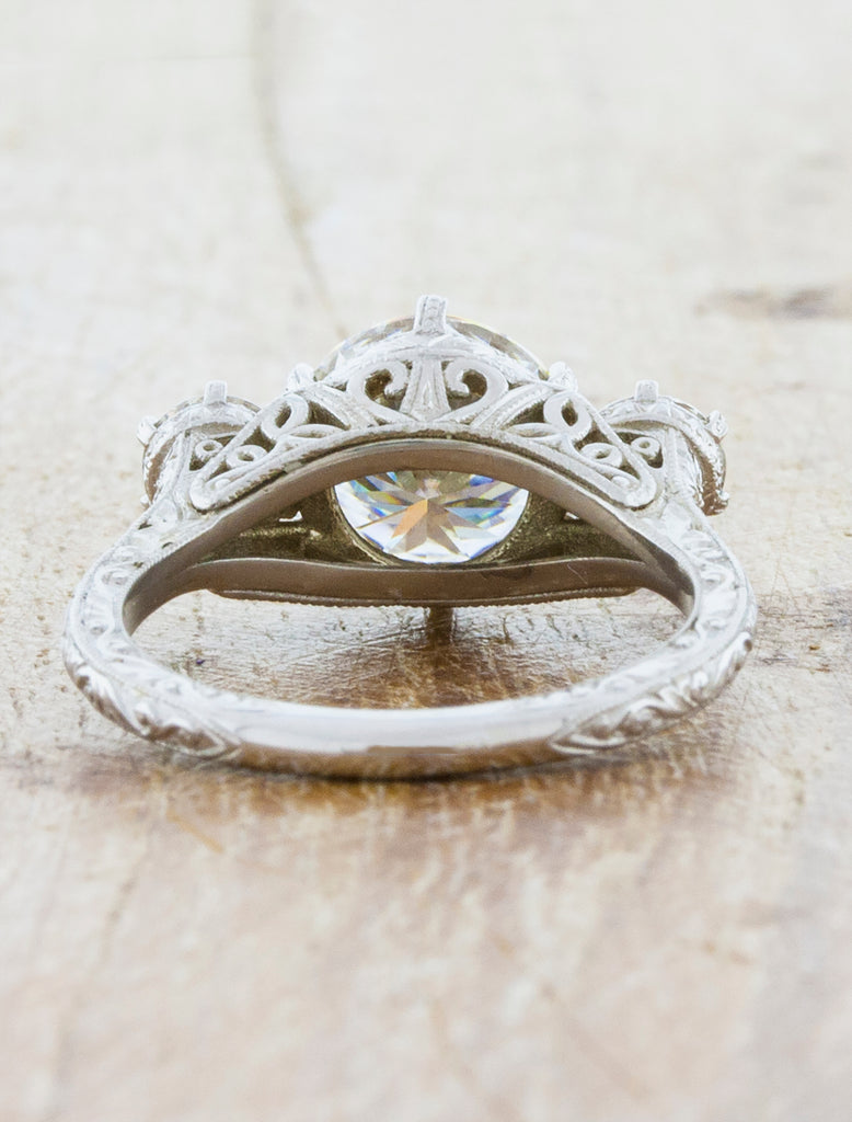Ornate Filigree Band Diamond Engagement Ring