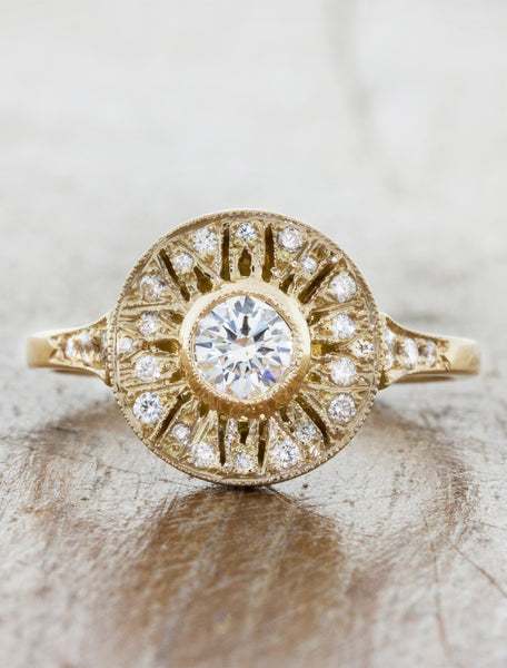 Vintage inspired engagement ring, caption:0.24ct. Round Diamond 14k Yellow Gold